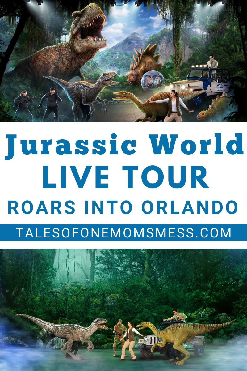 scenes from the Jurassic World Live Tour with wording - Jurassic World Live Tour Roars into Orlando.
