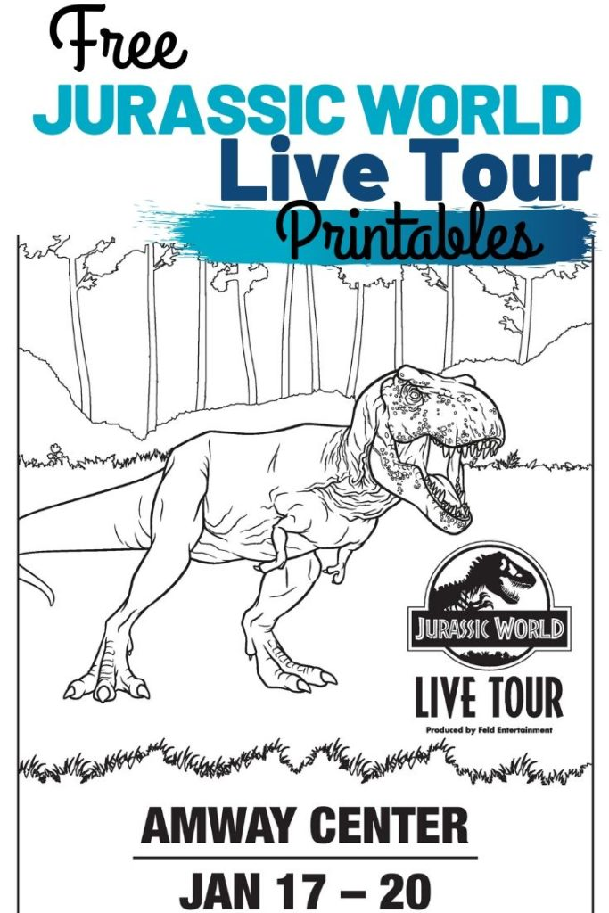 Jurassic World Live Tour coloring sheet with T-Rex.