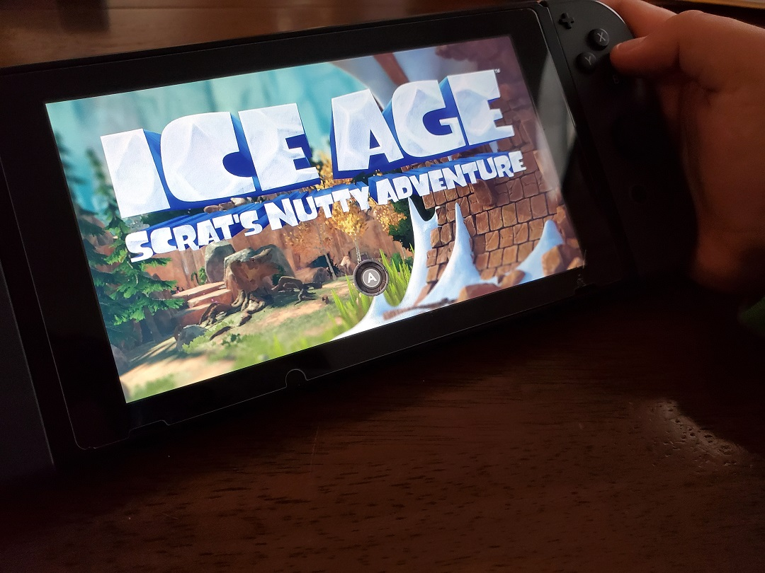 The start up screen on Nintendo Switch for Ice Age Scrat's Nutty Adventure