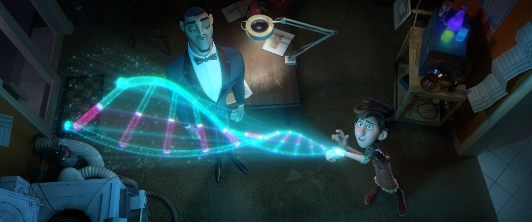 Walter (voiced by Tom Holland) showing off his DNA invention to Lance (voiced by Will Smith) in Spies in Disguise.