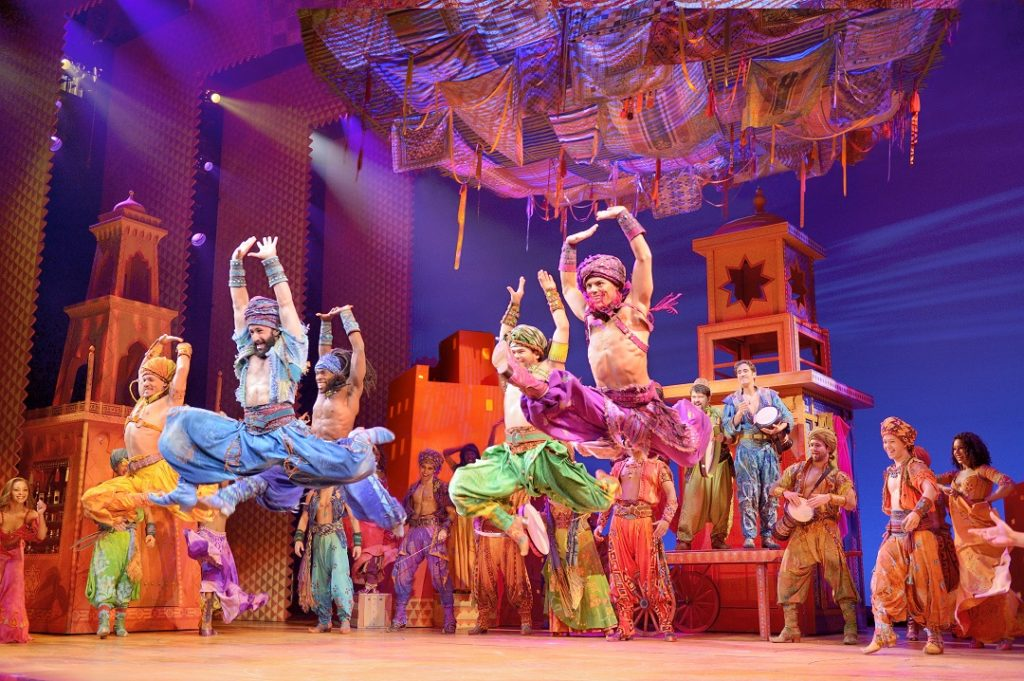 The men dancing during the performance of Arabian Nights for Disney's Aladdin: The Hit Broadway Musical