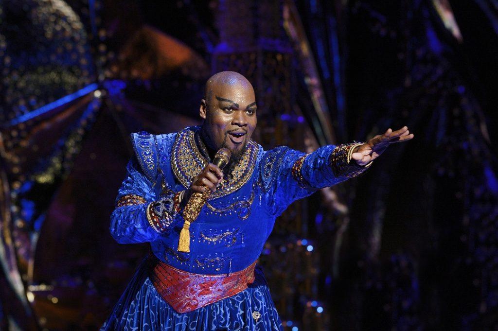 Michael James Scott as Genie in Disney's Aladdin: The Hit Broadway Musical Photo by Deen van Meer
