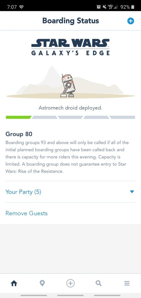 Rise of the Resistance boarding group status screenshot.