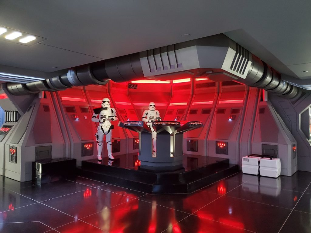 Stormtroopers stationed on the First Order ship at Rise of the Resistance.