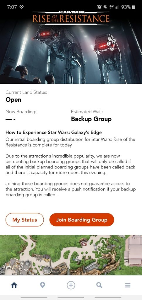 Rise of the Resistance join boarding group in the My Disney Experience app.