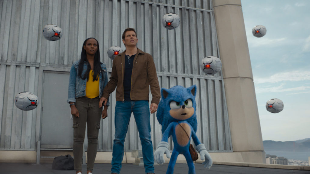 Tika Sumpter, James Marsden, and Sonic (Ben Schwartz) in SONIC THE HEDGEHOG from Paramount Pictures and Sega.