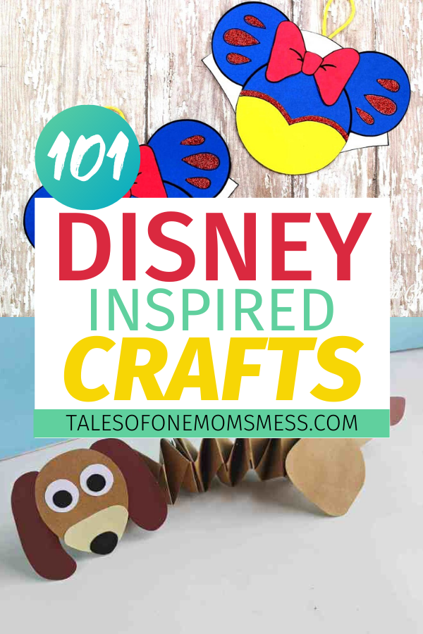Disney inspired crafts with Slinky Dog and Snow White crafts pictured.
