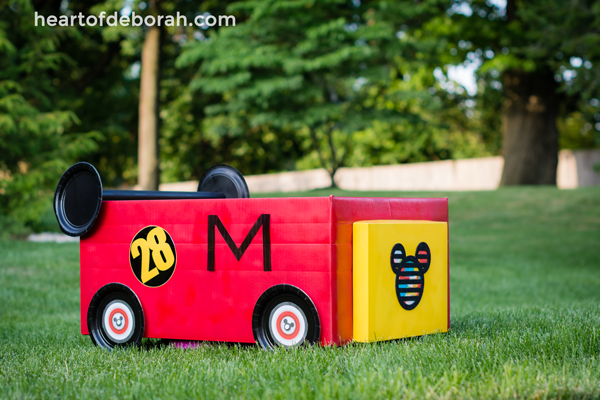 Disney crafts for kids includes this Mickey Mouse Roadster Cardboard car - Inspired Motherhood