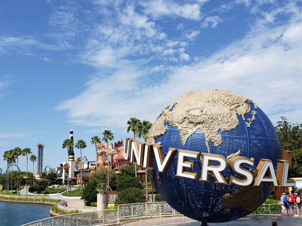 Universal Orlando globe outside the parks entry.