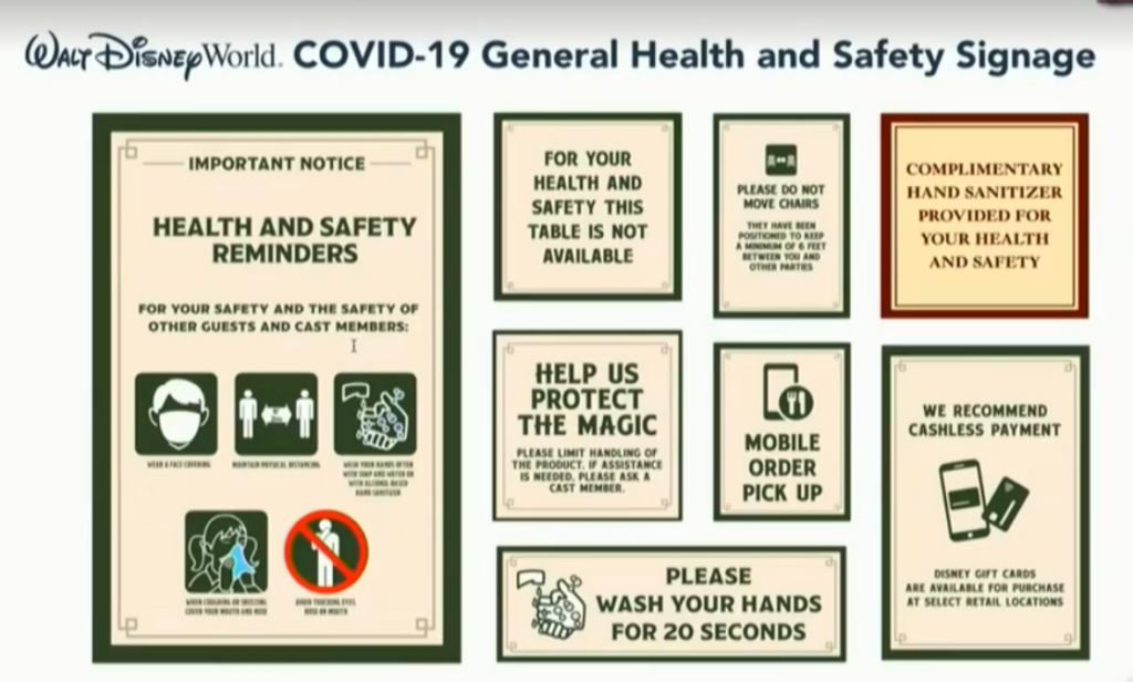 Health and safety signage will be found throughout the Disney World Resort.