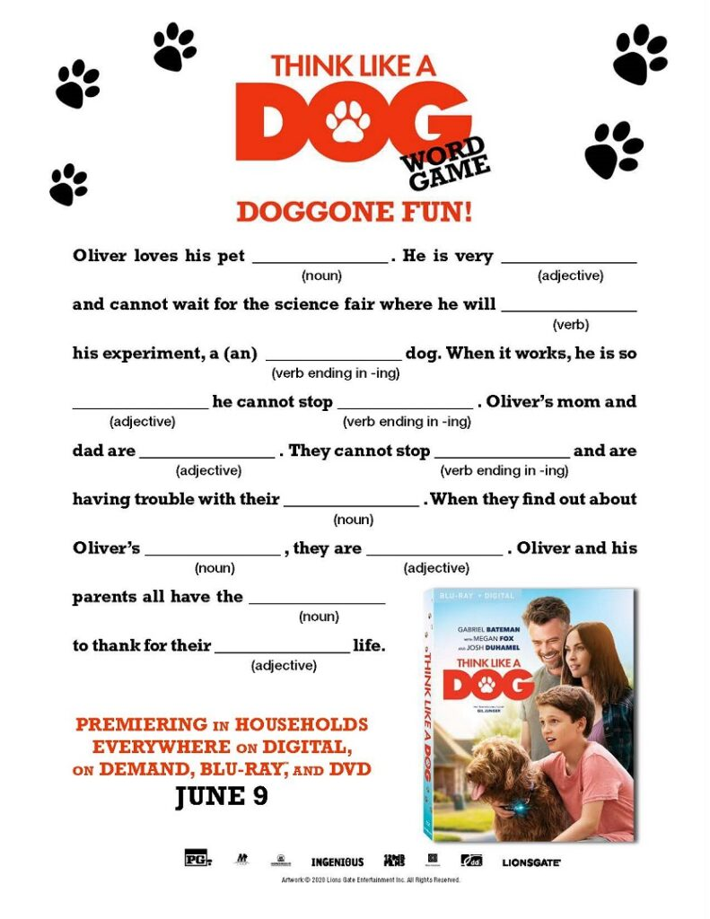 Printable Think Like a Dog word game.