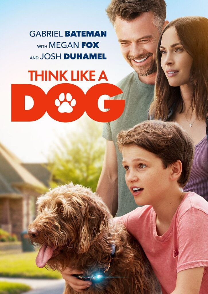 Megan Fox, Josh Duhamel, Gabriel Bateman and dog advertising the movie Think Like a Dog.