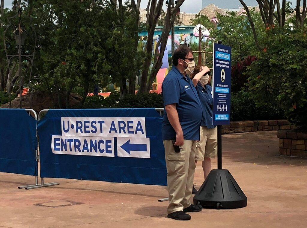 U Rest Areas at Universal Studios Orlando where guests can take off their face masks for a little bit.
