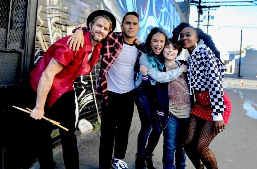 Cast of Mighty Oaks Left to right, Darby (Ben Milliken), Pedro (Carlos Penavega), Gina (Janel Parrish), Oak (Tommy Ragen) and Alex (Nena Ghana).