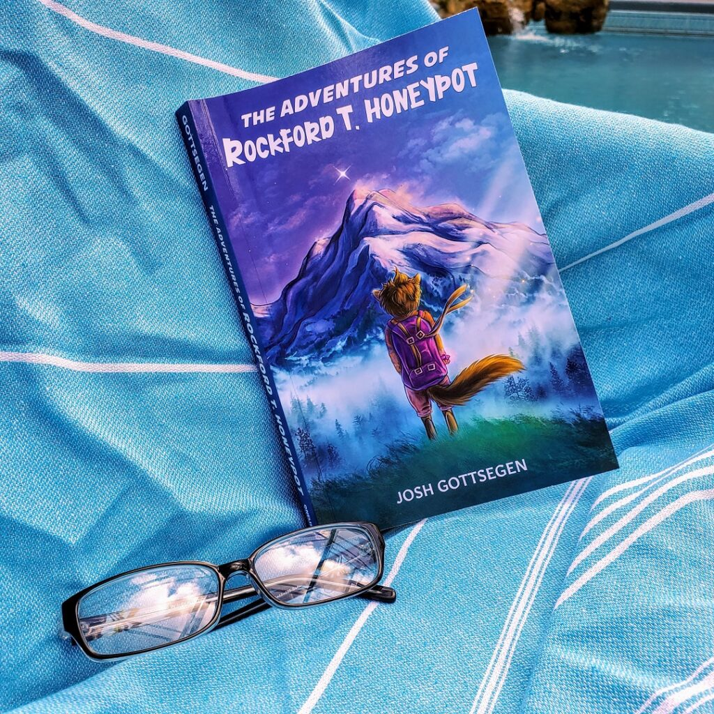 The Adventures of Rockford T. Honeypot book with a chipmunk wearing a purple backpack.