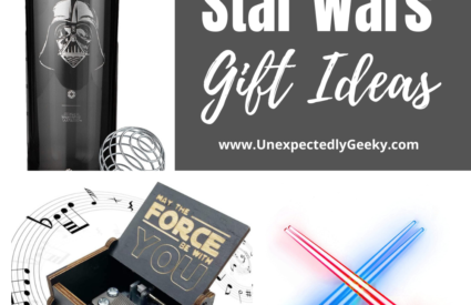 Just some items you'll find on our Star Wars gift guide - Darth Vader water bottle, Star Wars music box and light saber chopsticks!