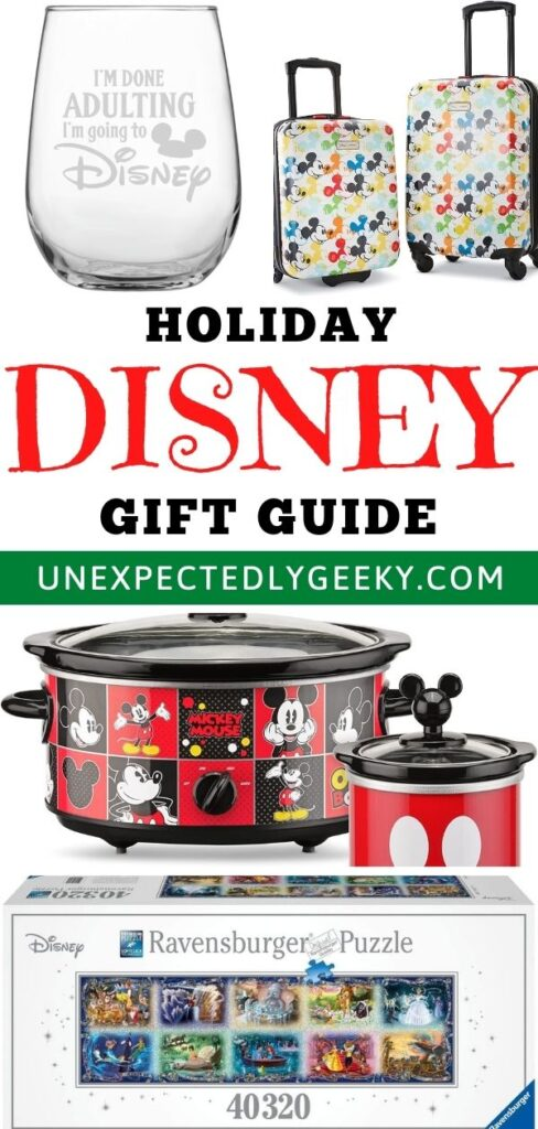 Holiday Disney gift guide with cup, Disney luggage, Mickey Mouse crockpot and Disney puzzles.