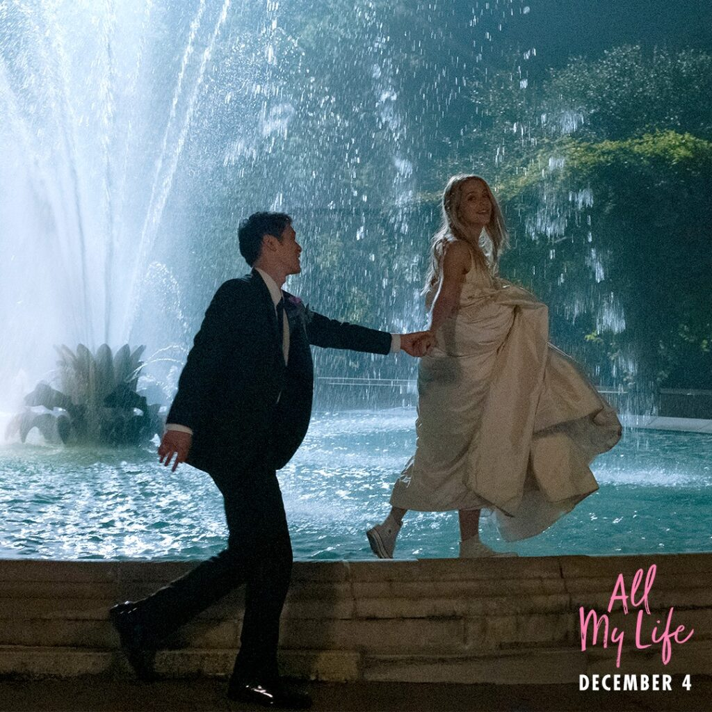 Harry Shum Jr. as Solomon Chau and Jessica Rothe as Jennifer Carter in All My Life