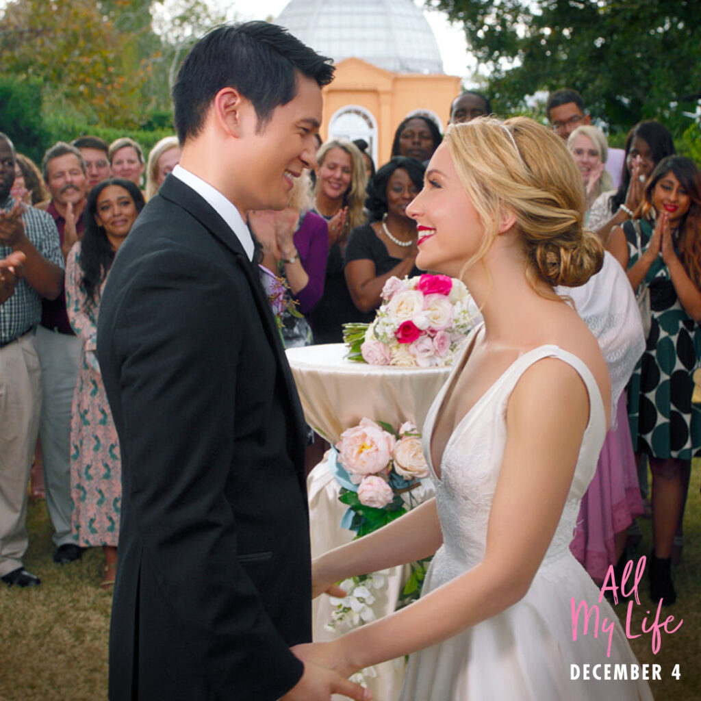 Wedding scene from All My Life starring Harry Shum Jr. as Solomon Chau and Jessica Rothe as Jennifer Carter.