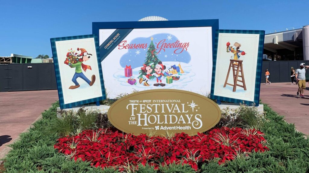 The entry sign to the Taste of Epcot International Festival of the Holidays.
