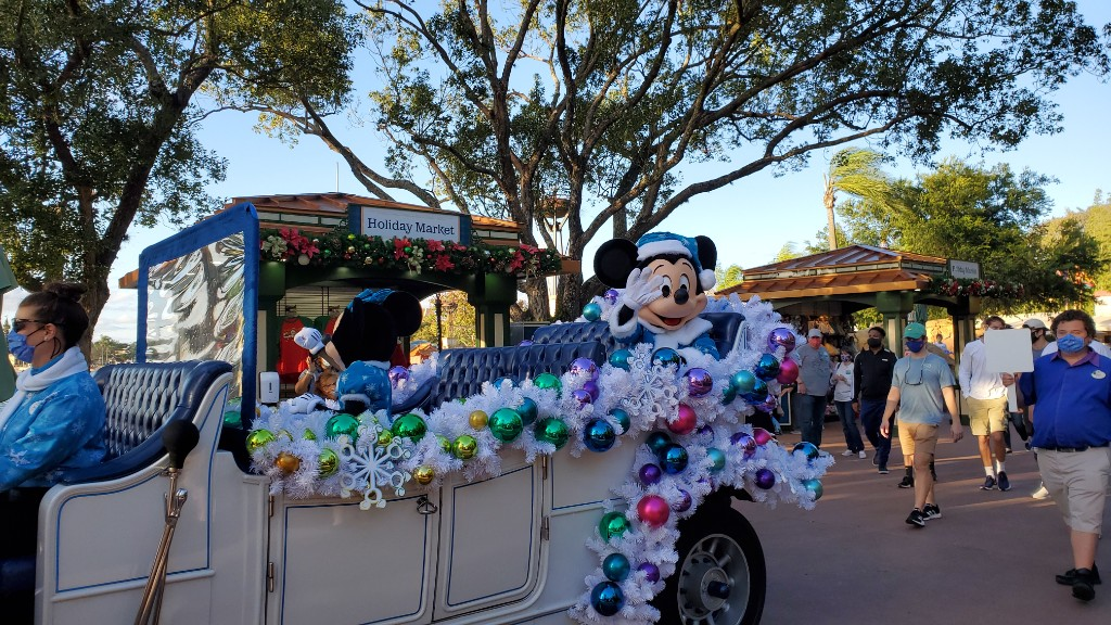 Mickey Mouse in his holiday best as part of the character cavalcade in Epcot.
