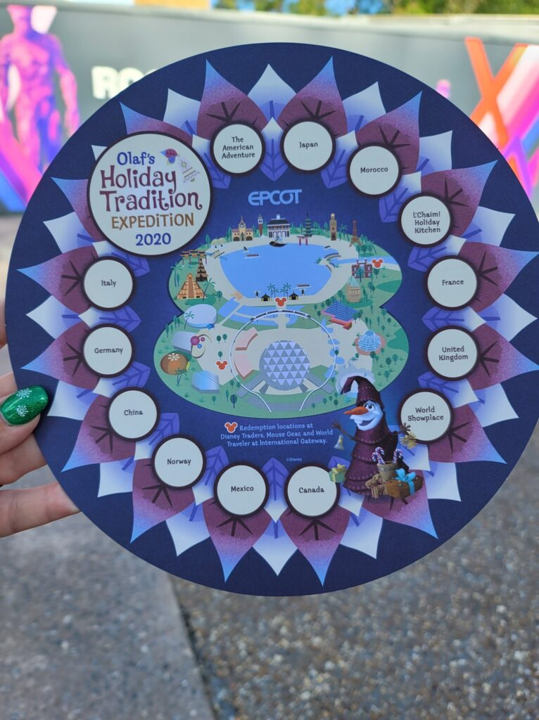 Olaf's Holiday Tradition Expedition map part of the new Taste of Epcot International Festival of the Holidays