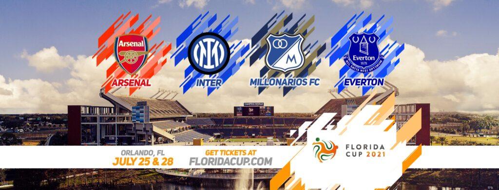 Florida Cup 2021 featuring the Arsenal, Inter, Millonarios FC and Everton soccer clubs logos.